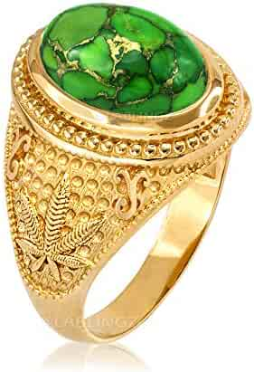 LA BLINGZ 14K Yellow Gold Marijuana Weed Green Copper Turquoise Ring