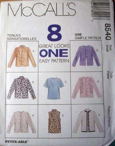 McCall's Sewing Pattern 8540 Misses' Unlined Jacket & Top, Size LG (16, 18)