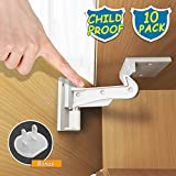 Child Safety Cabinet Locks, BigRoof Newest Version Heavy Duty Drawer Locks Baby Proof No Drill Child Proof Cabinet Latch Baby Safety Locks for Cabinet Drawer 10 Pack