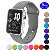 Apple watch band 38mm - Sundo Soft Silicone Replacement Wrist Strap Bracelet Band for Apple Watch Nike+ Sport Edition Series 2 Series 1(Concrete 38 SM)