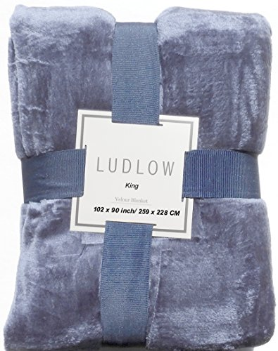 Luxurious Solid Velvet Velour Blanket King Size (Midnight Blue) Blue Velour Blanket
