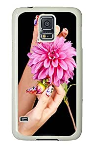 Samsung Galaxy S5 Nail And Flower PC Custom Samsung Galaxy S5 Case Cover White