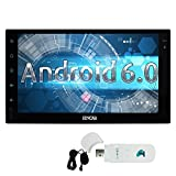 Free External Microphone + Quad-core 1.6G GPS Car Stereo IN Dash Double din 7inch Full Tablet Pannel Multi-touchscreen Head Unit Android 6.0 OS Autoradio support Bluetooth GPS Sat Navi Wifi/OBD