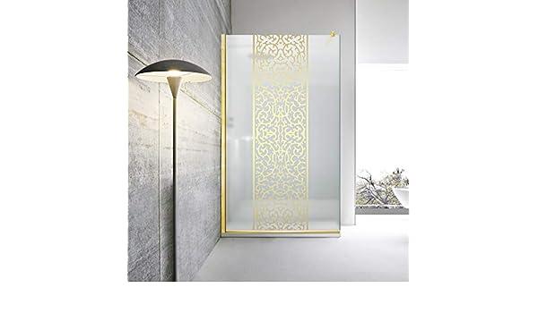 Modern Glass Art Leroy Timeless Mashrabiya - Mampara de ducha (8 mm, cristal de seguridad templado satinado, nano, acabado de latón dorado), dorado: Amazon.es: Bricolaje y herramientas