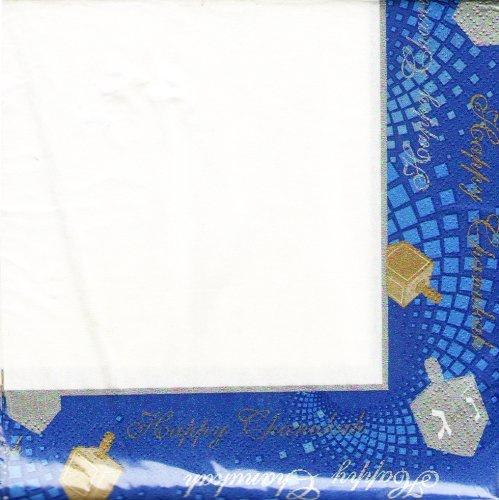 Chanukah Luncheon Paper Napkins , Disposable Napkins , Decorated with Hanukkah Dreidels - Pack of 36