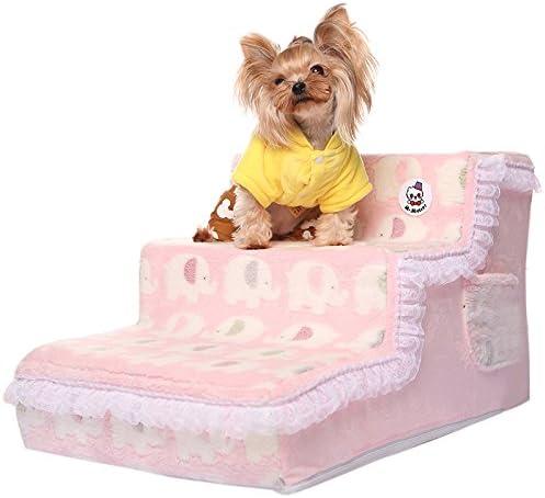 GCSEY Elegante Princesa De Encaje Camas para Perros Escaleras para Perros Rampa para Mascotas Escaleras De Felpa Suave Cachorro Cat Escalera Camas Cómodas para Perros: Amazon.es: Hogar