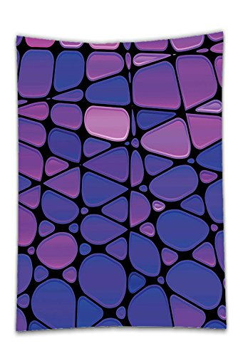 Interestlee Satin drill Tablecloth?Abstract Contemporary Stained Glass Design with Graphic Drops Mosaic Vibrant Pattern Purple Pink Black Dining Room Kitchen Rectangular Table Cover Home (Texas Holdem Stained Glass)