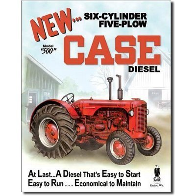 Case 500 Diesel Tractor Retro Vintage Tin Sign by Poster Revolution (Sign Case Tin Tractor)