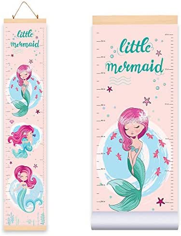 Mermaid Height Growth Chart for Kids Girls (10.2W x 56H Inches), Adorable Hanging Growth Chart Wall Decor for Kids Room - Durable Waterproof Canvas Cloth with Wooden Frame