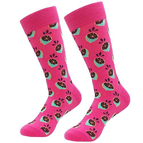 (Men's Crazy Casual Socks - KoolHour Novelty Cool Fun Fashion Pink Lemon Pattern Cotton Knit Long Tube Dress Crew Socks for Men Gifts,1)