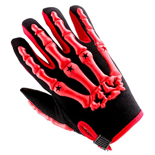 Youth Motocross Gloves Motorcycle BMX MX ATV Dirt Bike Bicycle Skeleton Cycling Kids Gloves Red