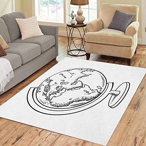 Pinbeam Area Rug School Globe Model of Earth Geography Black Home Decor Floor Rug 3' x 5' Carpet