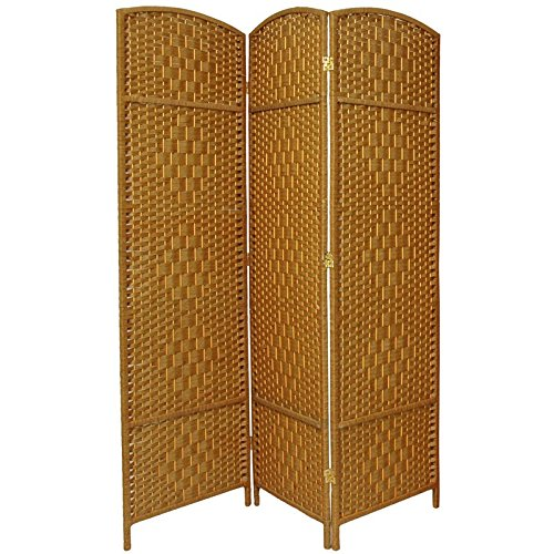 7 Panel Partition (Oriental Furniture 6 ft. Tall Diamond Weave Fiber Room Divider - Light Beige - 3 Panel)