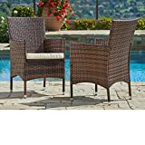 dining tables for sale SUNCROWN Outdoor Furniture Wicker Chairs (2-Piece Set) Thick, Durable Cushions | Partner with Tables, Umbrella Stand or Sofa | Porch, Backyard, Pool or Garden Seating