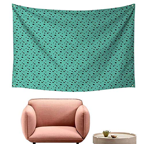 "alsohome Bedroom Tapestry Wall Hanging Square Tapestry for Living Room Dog Fur Spired Little Polka Circl Rounds Image Jade Green Black 91""X60"""
