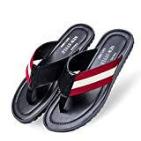 Fashion Men's Summer Beach Flip-Flop Cow Leather Slippers with Carring Case(Red & Beige,7)