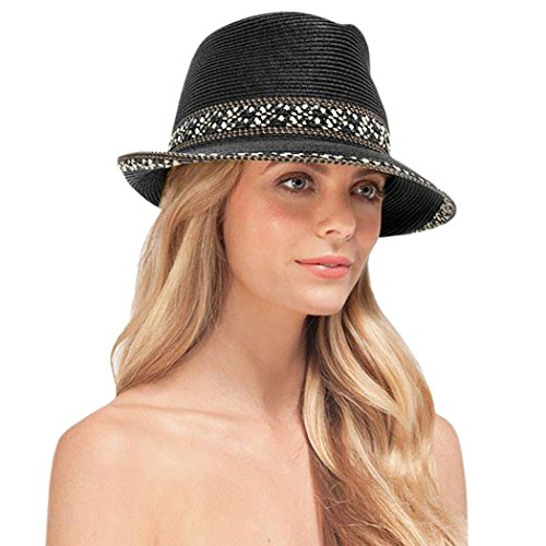 Eric Javits Designer Women's Luxury Headwear - Big Deal Hat - Black Mix by Eric Javits