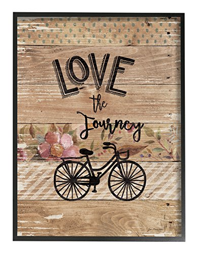 Stupell Home D cor Enjoy the Journey Bicycle and Flowers Framed Giclee Texturized Art, 11 x 1.5 x 14, Proudly Made in USA
