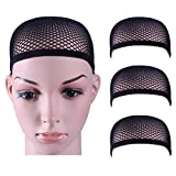 3 Pack Dreamlover Black Wig Caps with Thick and Strong Nylon Thread, Durable Mesh Net Fishnet Wig Cap with Close Dome, Perfect for Mermaid Makeup (Black)