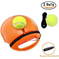 Tennis Trainer Set Rebound Baseboard, Fill & Drill Tennis Self-study Practice Training Tool Equipment Sport Exercise for Beginner With 2 Balls