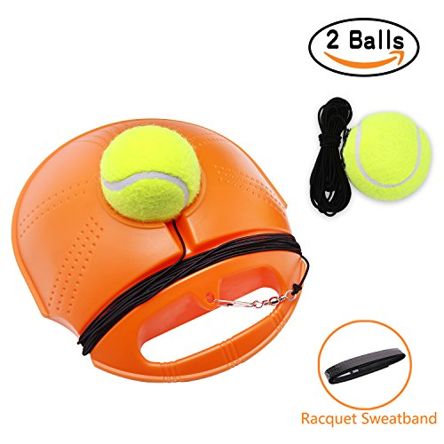 Tennis Trainer Set Rebound Baseboard, Fill & Drill Tennis Self-study Practice Training Tool Equipment Sport Exercise for Beginner With 2 Balls - Team Practice Drills