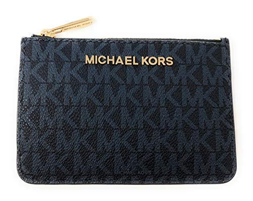 Michael Kors Jet Set Travel Small Top Zip Signature Coin Pouch ID Card Case Wallet In Admiral