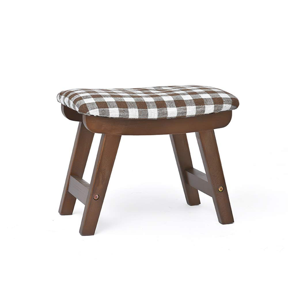 ZHIRONG Square Wooden Wood Support Upholstered Footstool Pouffe Chair Stool Fabric Cover 4 Legs and Removable Linen Cover (Color : D)