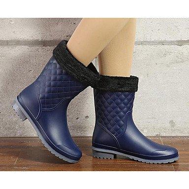 Deutsches Elektronen-Synchrotron Damen Schuhe PVC Leder Fall Regen Winter Stiefel Boots Chunky Absatz für Casual Mandel blau schwarz blau