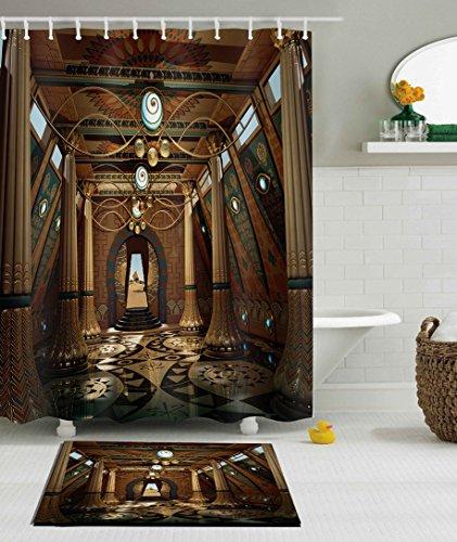 LB Magic Temple Egypt Pyramid Egyptian Building Bathroom Curtain Rug Set, 70 x 70 Shower Curtain Waterproof Mold Free, 15x23 in Soft Bathroom Rug