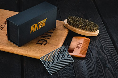 Beard-Brush-And-Comb-Set-By-FirstMen-Bamboo-And-Boar-Bristle-Detangler-And-Pear-Wood-Comb–Complete-Grooming-Kit-For-Men–Comes-In-A-Protective-Cotton-Bag–FREE-Stainless-Steel-Wallet-Comb