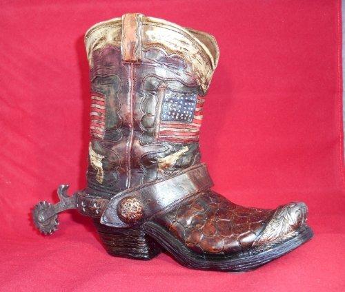 Cowboy Boot Bank Western American Flag Themed Decor Piggy Bank