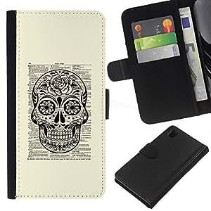 KLONGSHOP // Tirón de la caja Cartera de cuero con ranuras para tarjetas - Libro Libro Libro rústica Tinta Muerte - Sony Xperia Z1 L39 //
