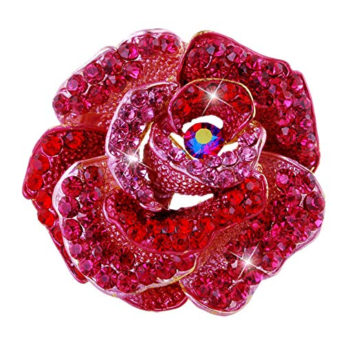 Connie Cloris Women's Crystal Rhinestone Blooming Beautiful Rose Flower Brooch Pin (Red)