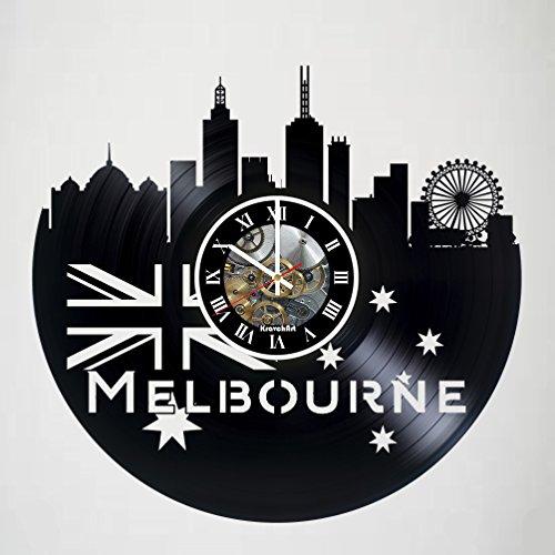 KravchArt Melbourne - Australian Victoria - Skyline Vinyl Record Wall Clock - Artwork Gift idea for Birthday, Christmas, Women, Men, Friends, Girlfriend Boyfriend and Teens - Living Kids Room Nursery