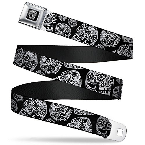 - Buckle-Down Seatbelt Belt - The Dust of Living II Sugar Skulls Black/White - 1.5