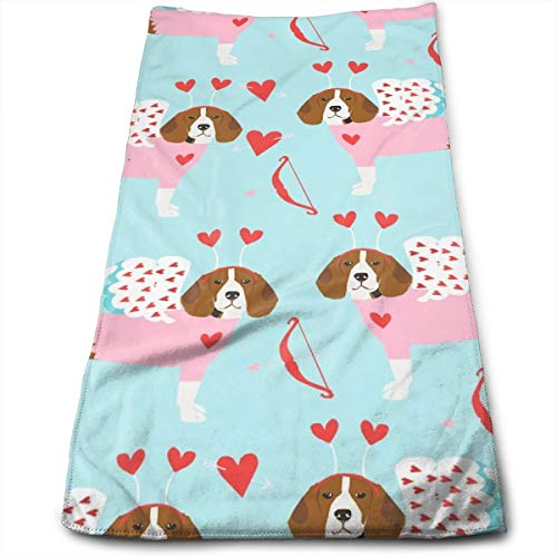 Beagle Love Bug Valentines Day Dog Breed Blue Hand Towels Dishcloth Floral Linen Hand Towels Super Soft Extra Absorbent for Bath,Spa and Gym 11.8