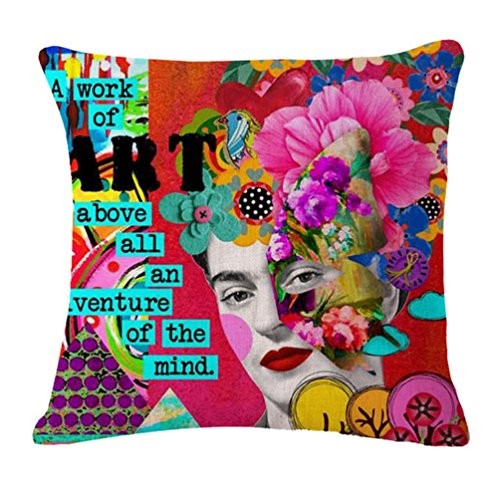 Joyi Frida Kahlo Self-Portrait Cotton Linen Throw Pillow Case Car Cushion Cover 18