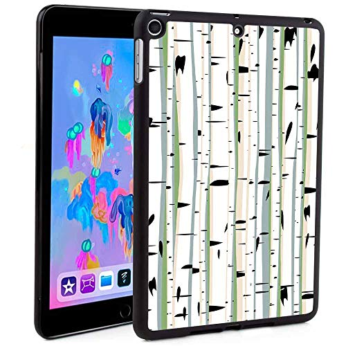 (iPad Mini 5 Case, Shop Premium TPU&PC Leather Wallet Case,Dense Tree Formation Birch Trunks Abstract Grove Botanical Countryside Backwoods Print Mandala Floral Print for iPad 9.7 2018/2017)