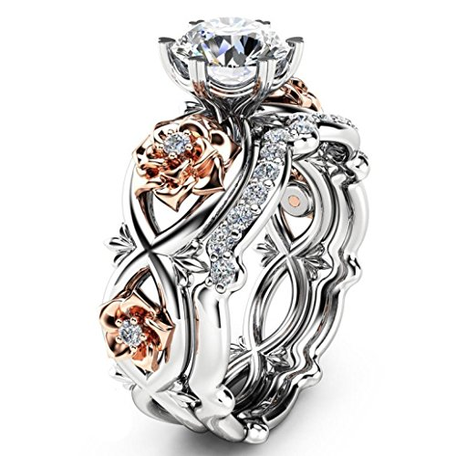 Rings,Women's Rose Floral Lucky Flower Leaf Diamond Rings Jewelry Gift Wedding Engagement Jewelry (8, Silver)