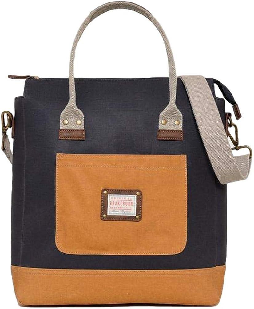 Brakeburn Shopper Ladies Shoulder Bag Large Navy Blue Tan Cotton Canvas Shopping Bag Tote
