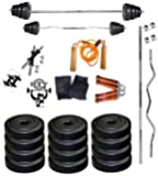 Bfit 30 Kg Home Gym Set With 3Ft Curl And 3Ft Plain Rod+ Accessories