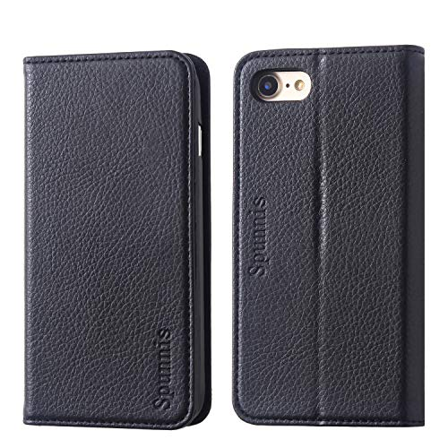 iPhone 8 Wallet Case, iPhone 8 Flip Case, SPUNNIS [Series A117 ] iPhone 7 Book Case [Slim] with 3 Card Slot [Stand Feature] Flip Cover for Apple iPhone 7/8, Black