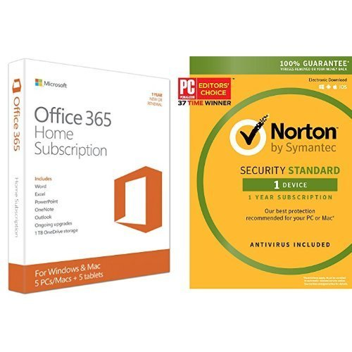 Microsoft Office 365 Home 1 Year | 5 PC or 5 Mac Key Card and Norton Security Standard - 1 Device [Key Card] (Ipad Norton)