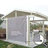 Alion Home Rod Pocket Sun Shade Panel with Aluminum Eyelets for Patio, Awning, Window Cover, Instant Canopy Side Wall, Pergola Or RV (10' x 10', Smoke Grey)