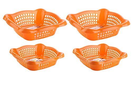Nayasa Melow 4 Piece Plastic Fruit Basket Set, Orange