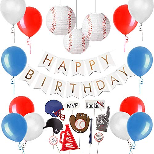 Baseball Themed Birthday Party Supplies, Baseball Photo Booth Props, Baseball Paper Lantern, Foil Gold Happy Birthday Banner, Sports Party Decorations, Easy -