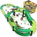 レーストラック 車レーストラックトラックトラックセット 車2台と恐竜2台のおもちゃ 男の子 幼児 キッズゲームギフト プレイセット