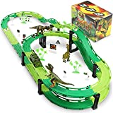 Dinosaur Race Track, Car Race Track Train Tracks Set with 2 Cars and 3 Dinosaurs Toys for Boys Toddlers Kids Game Gifts Playset