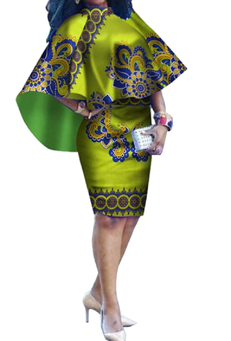 Green FreelyWomen Vintage Floral African Knee Length Slim Plus Size Mid Dress