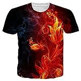 Alistyle Mens Boys Teens 3D Fire Printed Novelty Pattern Short Sleeve Cool T-Shirt Tees Medium